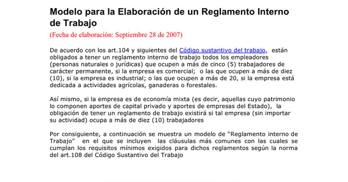 modelo de reglamento interno de trabajo.doc - google docs