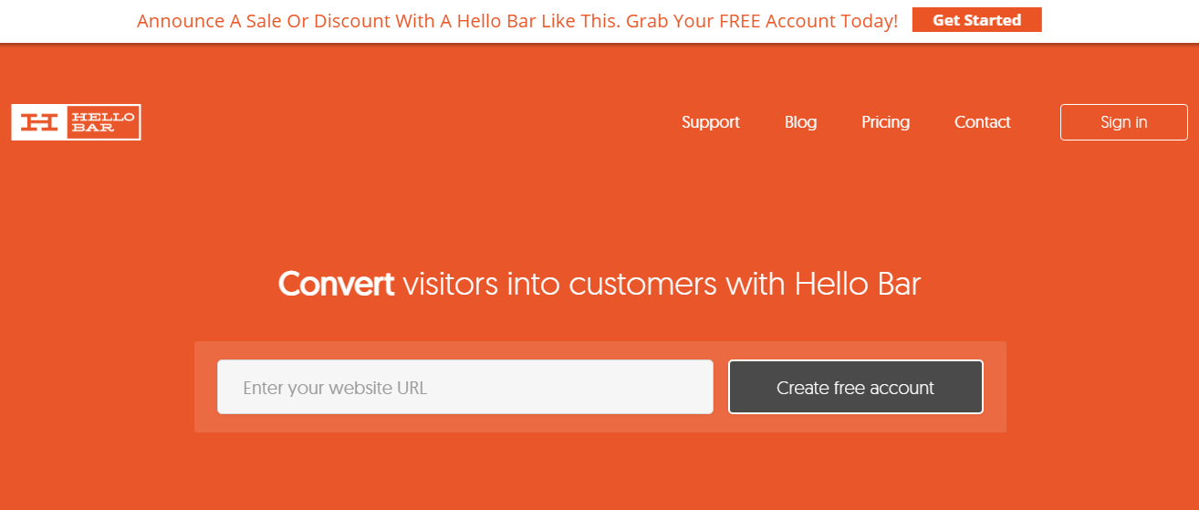 Hello Bar - Capture leads from your website visitors