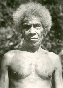 """Native elder in New Guinea. The natives were nicknamed """"Fuzzy Wuzzy Angels"""" by the Australians for assisting  injured troops."""