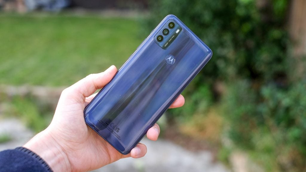 The back of the Motorola Moto G50 phone showing the cameras