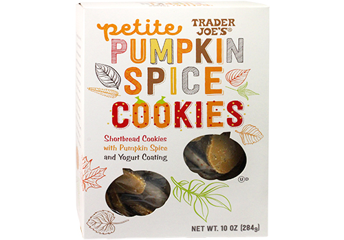 Box of Trader Joe's Petite Pumpkin Spice Cookies
