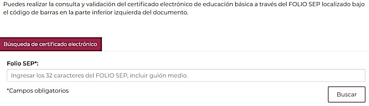 Folio SEP para obtener certificado de secundaria