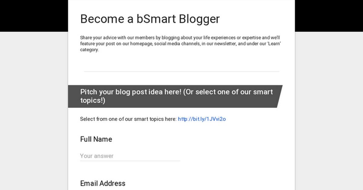 Become a bSmart Blogger