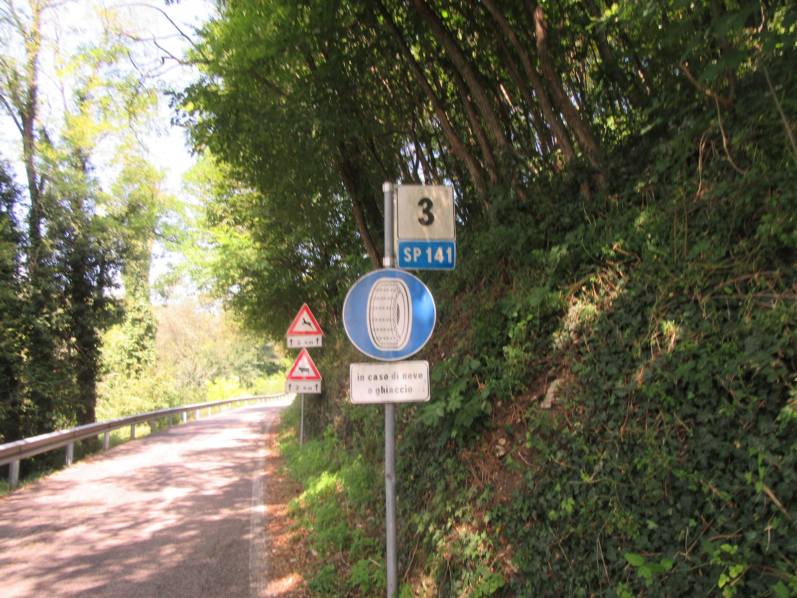 Biking Monte Grappa from Possagno - SP 141 sign and roadway