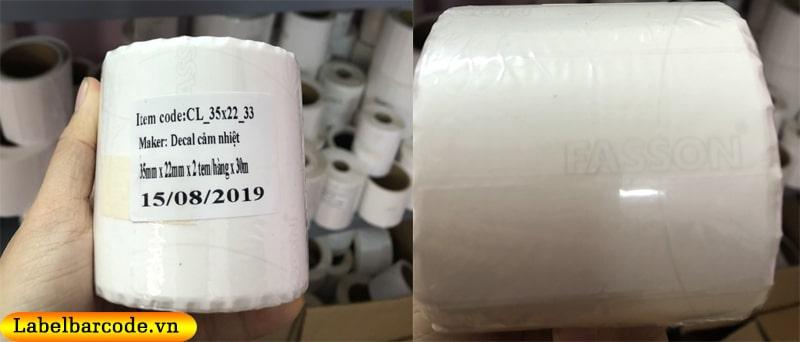 Giấy in mã vạch 2 tem với chất liệu decal cảm nhiệt chính hãng FASSON