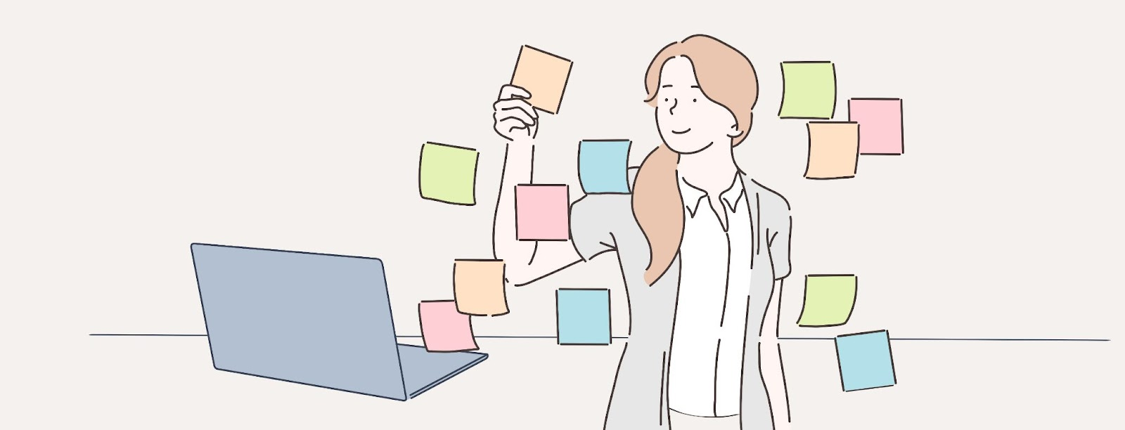 Illustration of a woman mapping out ideas on post it notes