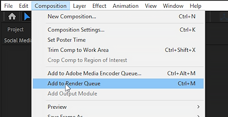 Click render queue under Composition Window to render video