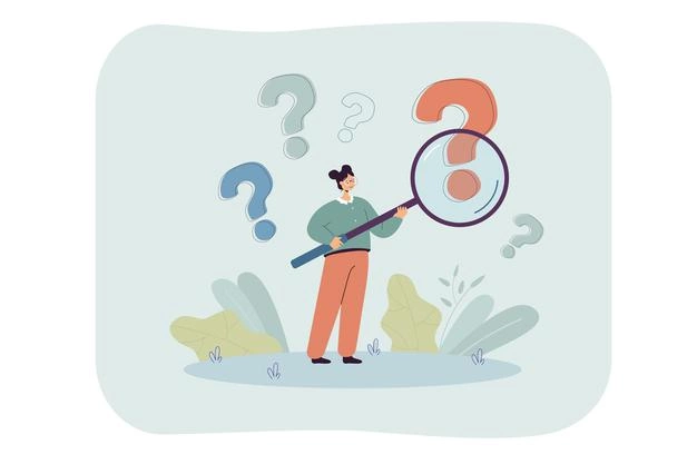 woman with magnifier analyzing question marks