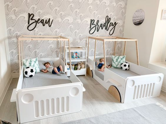 Wood Car Jeep Floor Bed for Twin Baby Boys