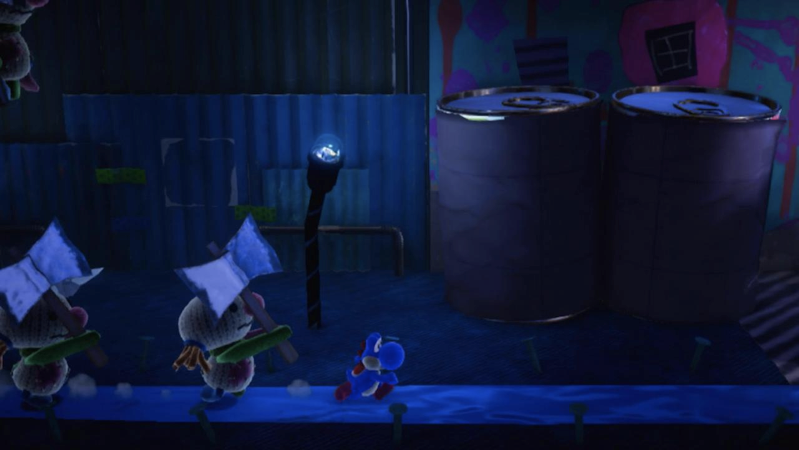 Dark scene with Yoshi running from enemies.