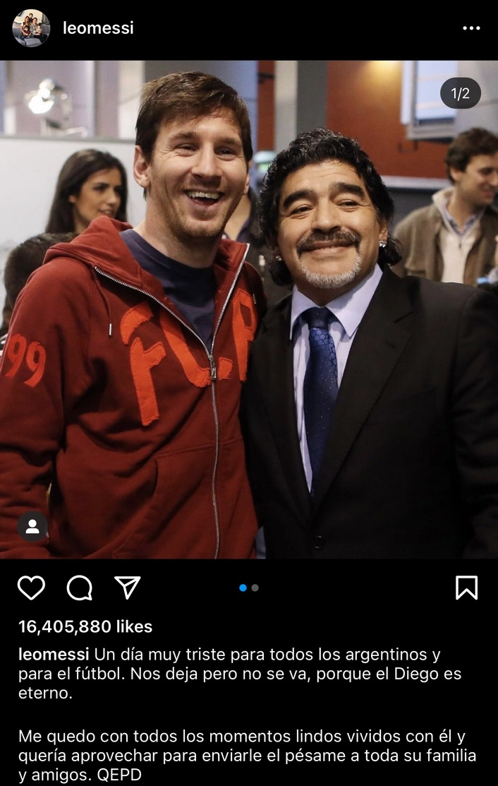 Leo Messi and Diego Maradona post