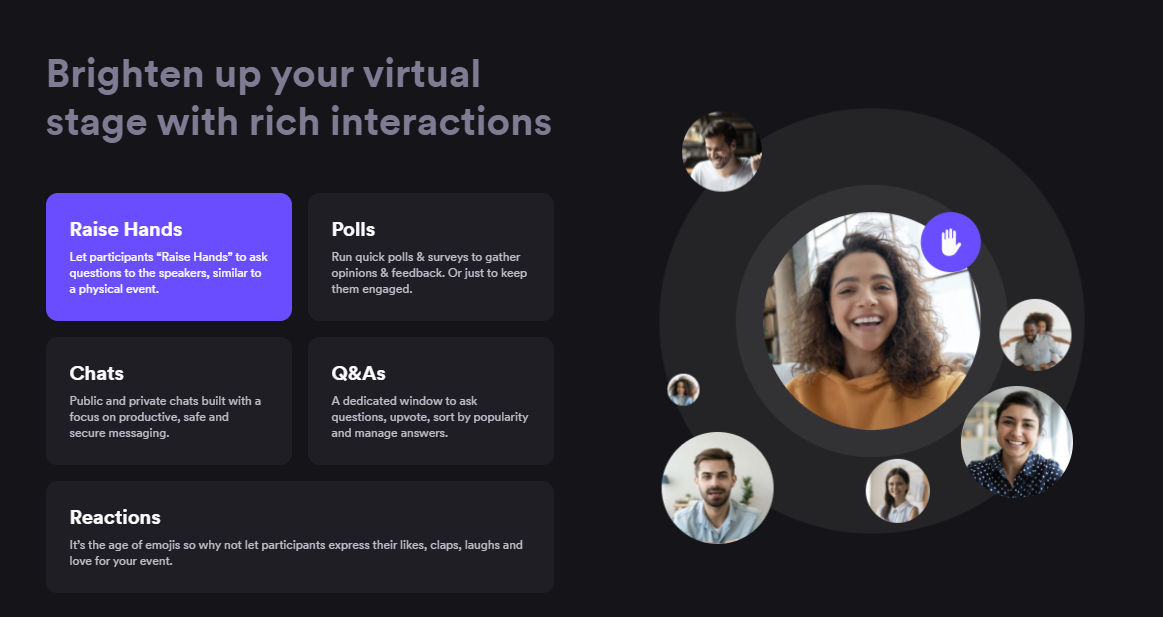 Airmeet features explained with text and interactive photos of people