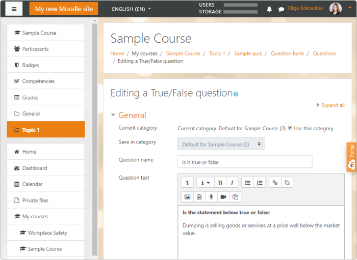 Adding a True/False question in Moodle