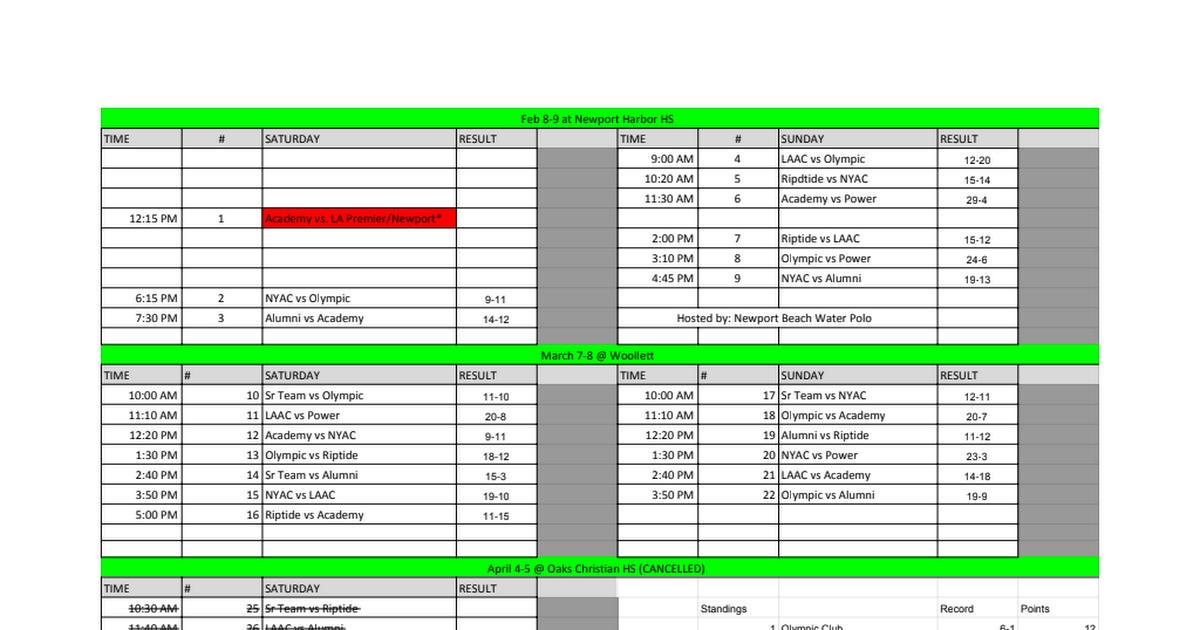 2020 National League Schedule - Google Sheets