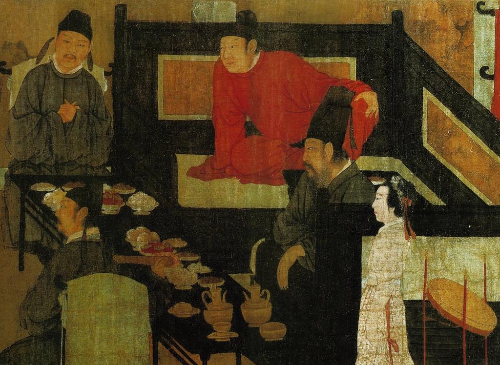 Фрагмент картины «Ночная пирушка Хань Сицзая» — кровать с высокой спинкой