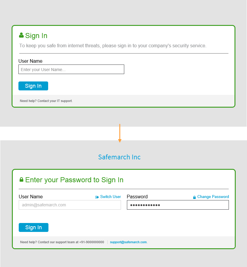 Screenshot of Zscaler Service's Sign In window with User Name field. Second Sign In window shows User Name and Password fields.