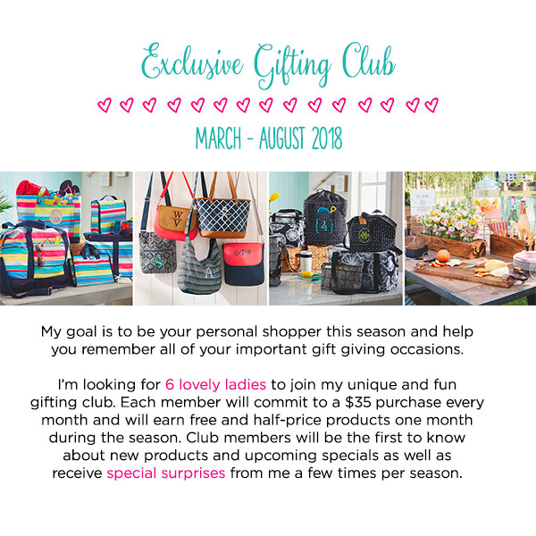 Join my exclusive gifting club. Spend $35 per month.