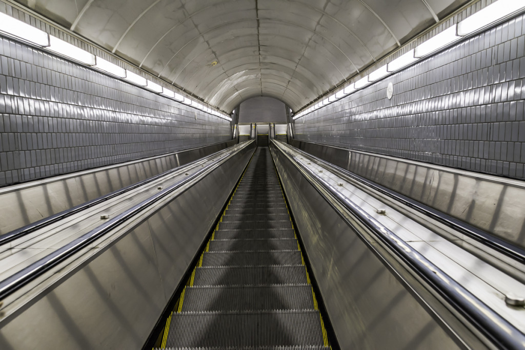 Long escalator inside MARTA station