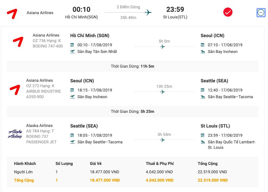 Vé máy bay từ Sài Gòn đi Saint Louis của Asiana Airlines