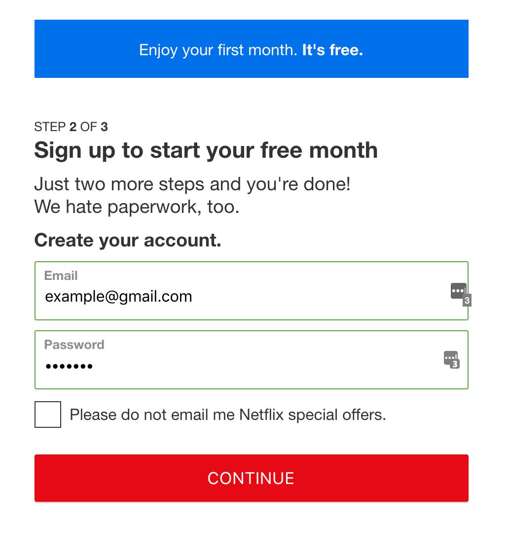 Netflix register example