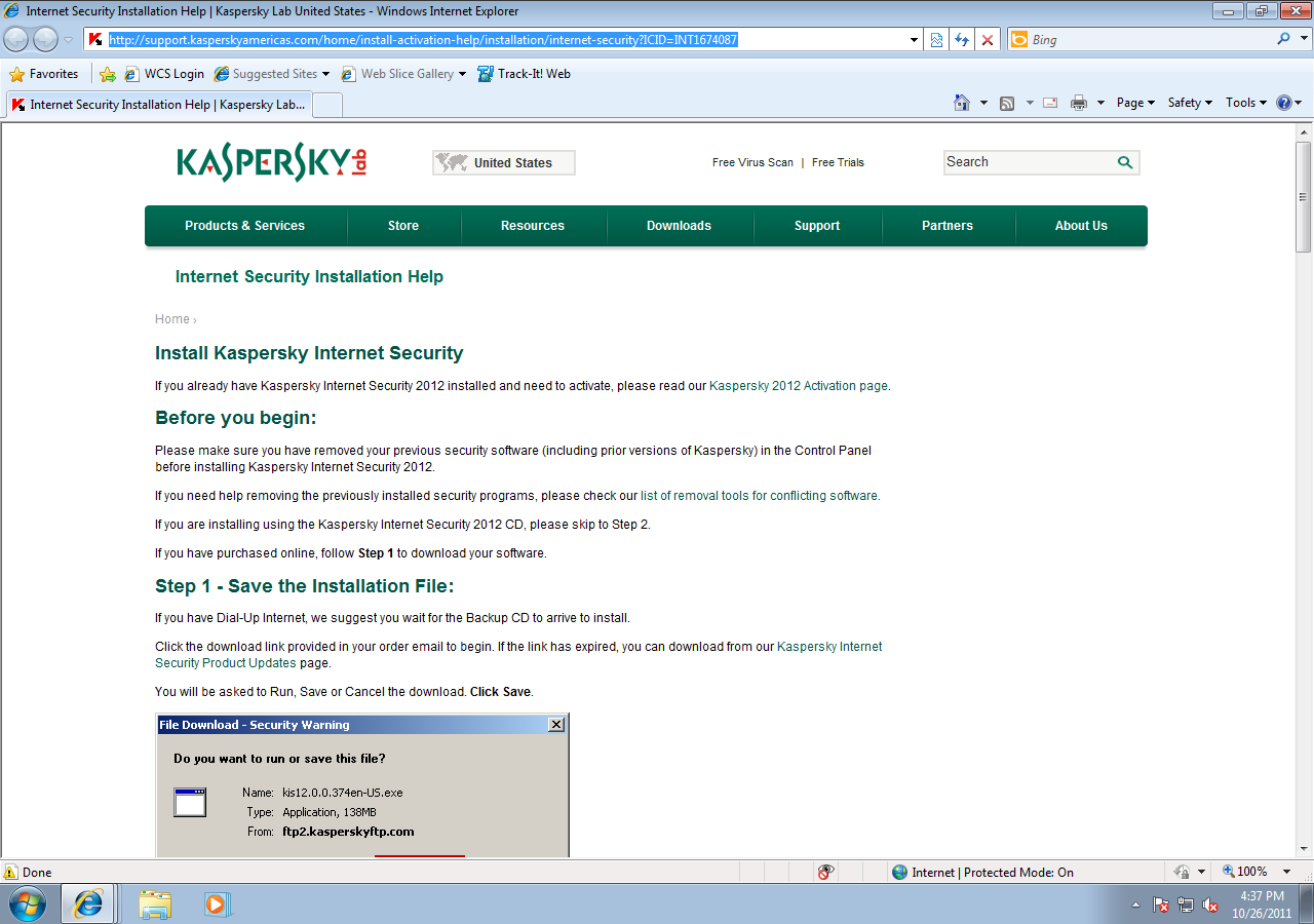 Screen Shot:  Kaspersky's FAQ page