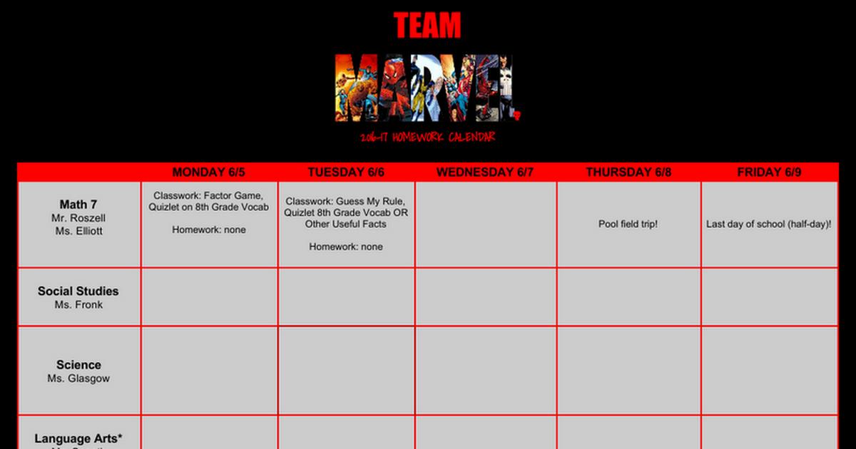201617 Team Marvel HW Calendar Google Docs – Math Extra Credit Worksheet