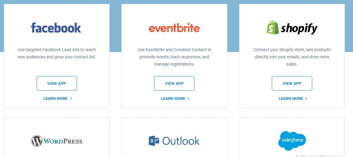 Constant Contact third party apps integrations