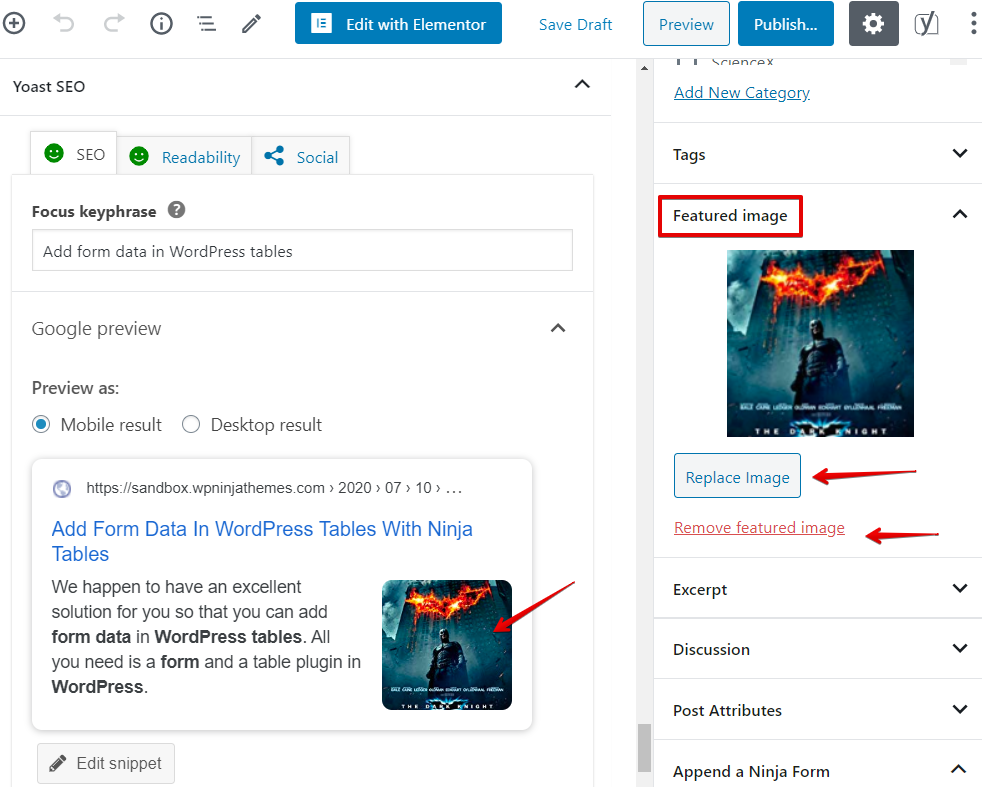 how to use Ninja Tables to add data to WordPress tables from posts
