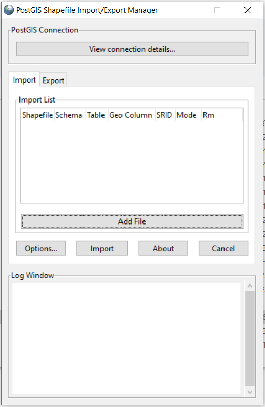 PostGIS Shapefile Import/Export Manager application, with options to View connection details, Add File, etc