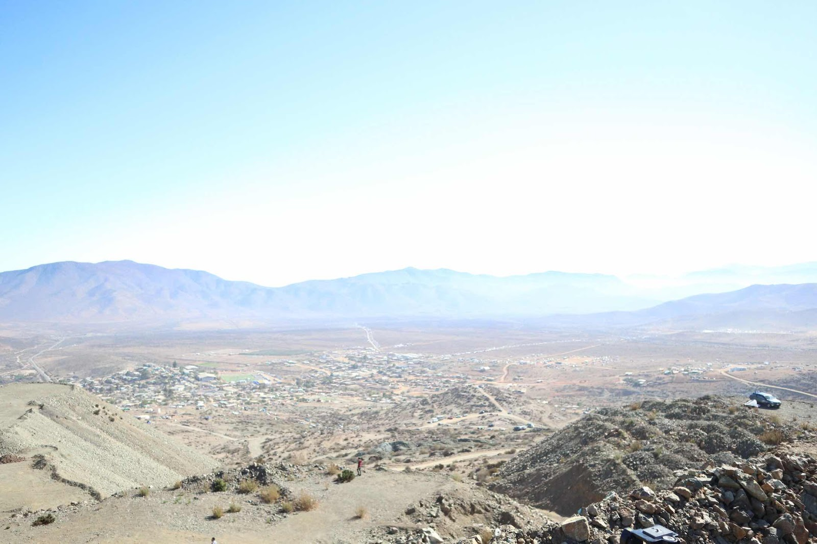 Looking down on the town of La Higuera, Chile, from our eclipse viewing site (Source: Palmia Observatory)