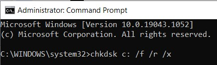 The Check Disk command in the Command Prompt window