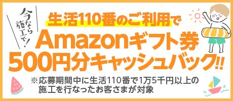 Amazonギフト券500円分キャッシュバック