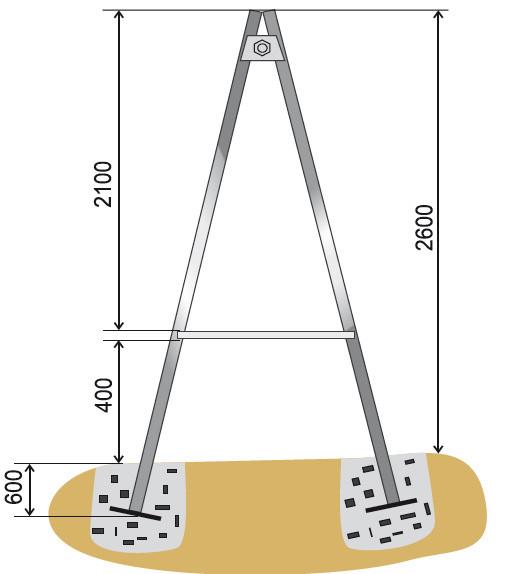 Концы стоек нужно вкопать как минимум на 50-60 см