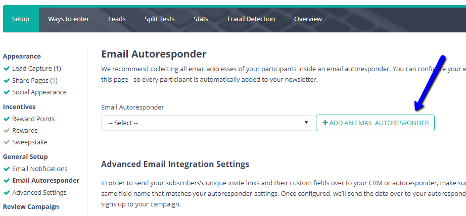 From the Add Email Autoresponder pop up window, name the Autoresponder and select Madmimi.