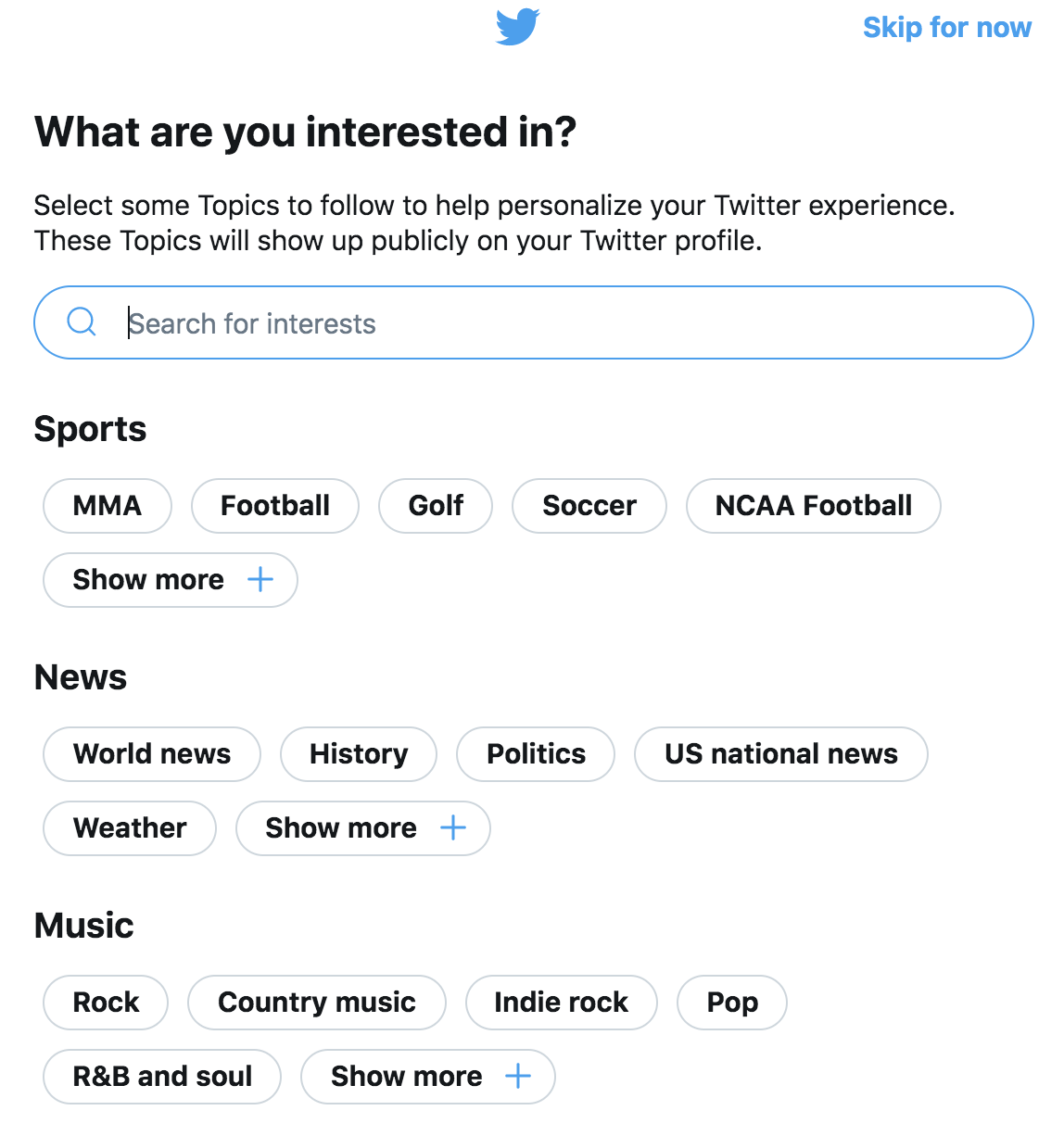 Twitter - What are you interested in?