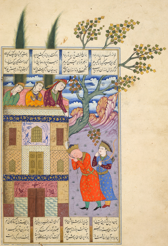 Persian mythology tells the tale of Zal and Rudabeh. Mythical love stories: Attributed to Mo'en Mosavver, Shahnameh, 1630s, British Library, London, UK.