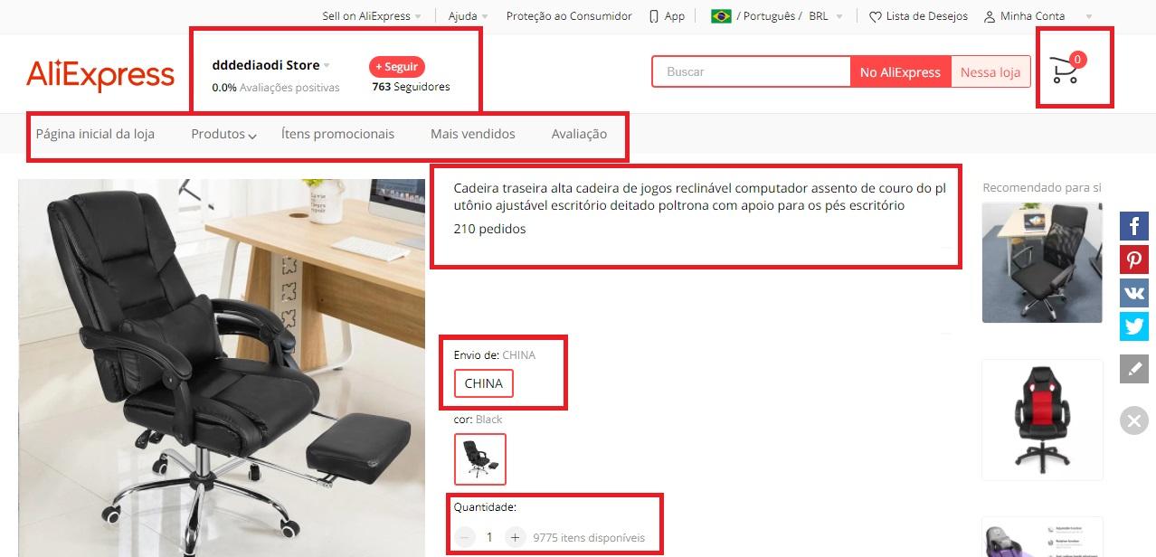 Detalhes sobre o produto estarão dispostos na página de cada loja dentro do AliExpress. (AliExpress/Reprodução)