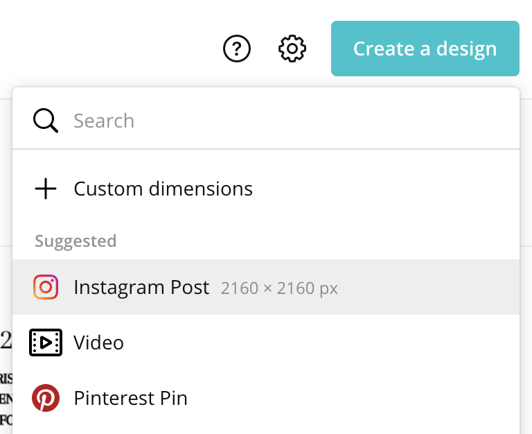 How to create a new Instagram post in Canva
