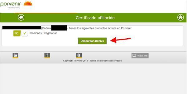 descargar certificado porvenir paso 3