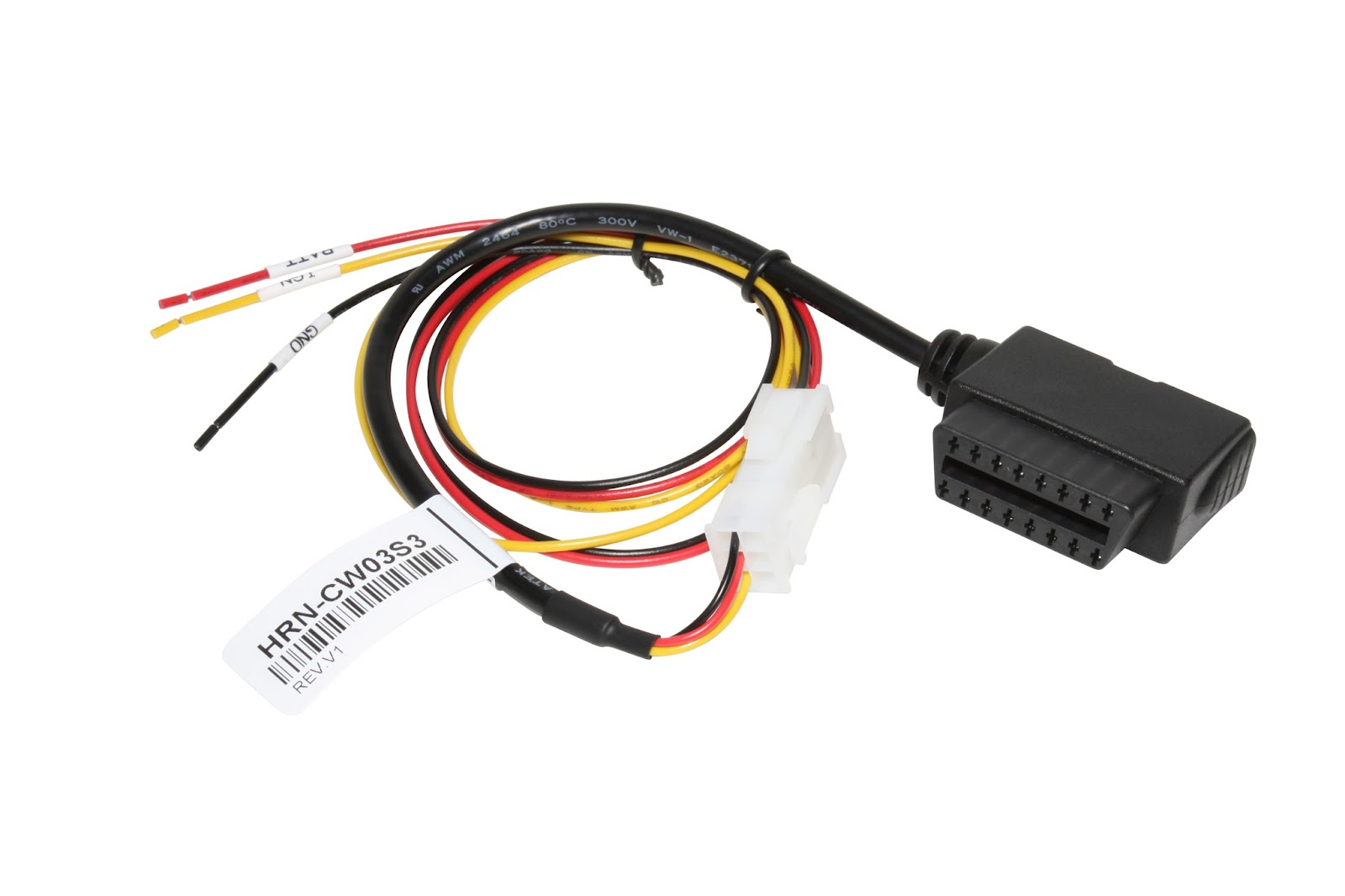 Geotab HRN-CW03S3 Doentation on 3 wire wiring harness, 3 wire power connector, 3 pin connector, 3 hose connector, screw terminal connector, 3 terminal connector, 6 pin wire connector,