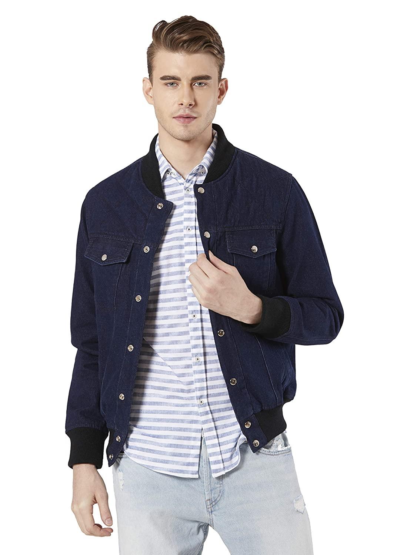 Merlot Deep Sea Blue Denim Jacket For Men