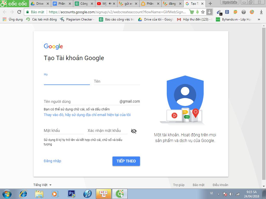 Đăng kí gmail