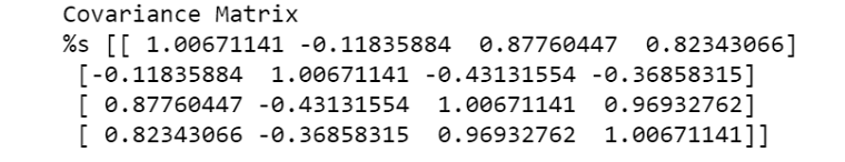 covariance matrix with the help of numpy library