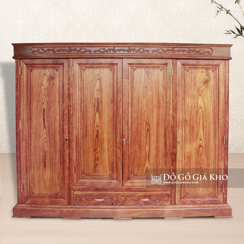 Tủ áo gỗ Cẩm 4 cánh cao cấp - TA109