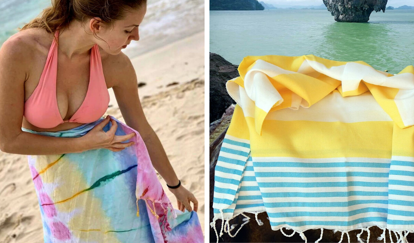 Colorful eco-friendly Turkish towels for the beach