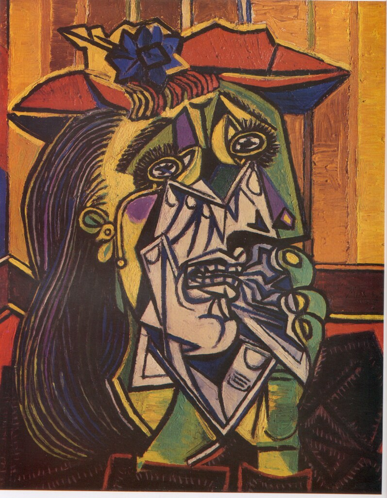 A Cubism Painting of an Anxious Woman