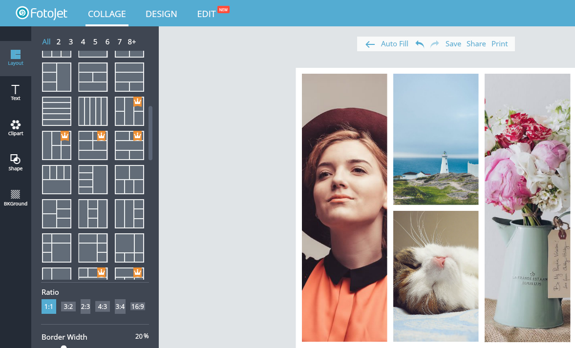 An all-in-one free online tool for photo editing, graphic design and photo collages