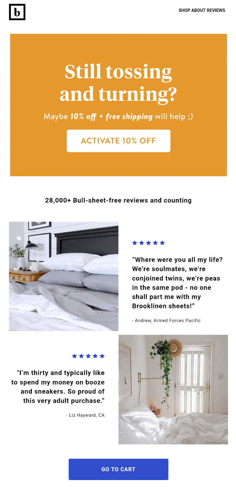 Brooklinen email with social proof