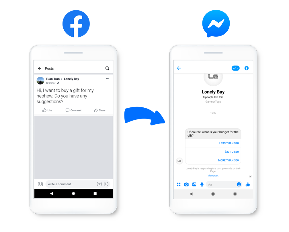 Comment to message facebook messenger update