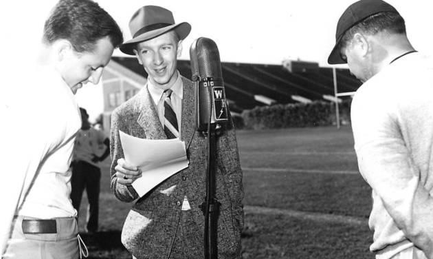 Working for WKY radio in 1937, a 20-year-old Walter Cronkite, center, interviews Oklahoma football player Beryl Clark, left. Cronkite died Friday at age 92. (Photo courtesy University of Oklahoma)